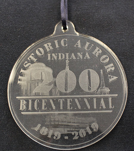 Bicentennial version of the acrylic Indiana Bicentennial ornament.
