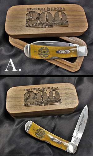Case pocket knife featuring Bicentennial logo w/ wooden Case, both open and closed.