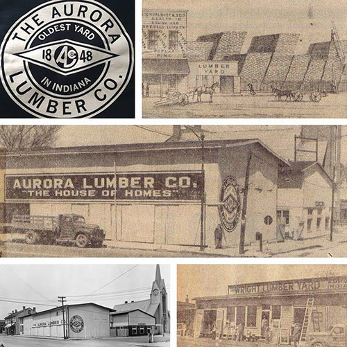 The various lumber companies that have existed in Aurora, Indiana in the last