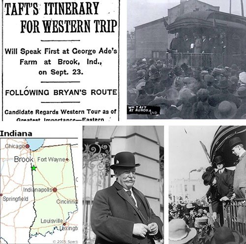 William Howard Taft presidential campaign of 1908 going through Aurora, Indiana.