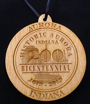 Back view of the wooden Aurora, Indiana Bicentennial ornament.