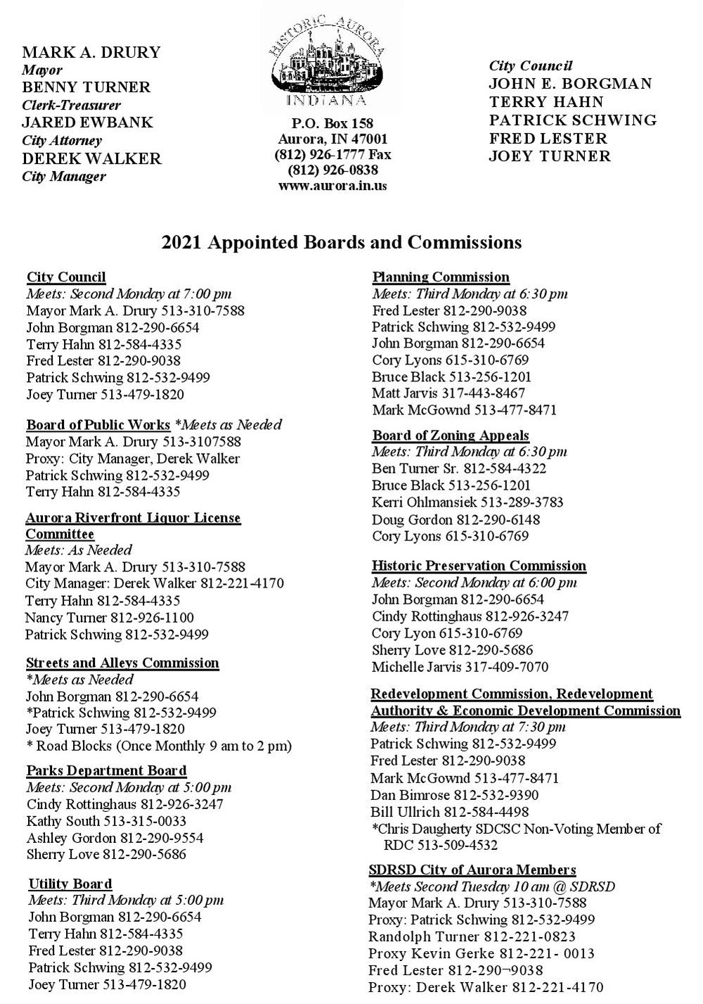 List of Boards and Commissions
