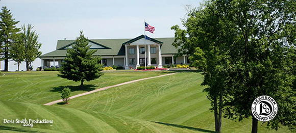 View of the clubhouse from the Deaborn Country Club Golf Course.