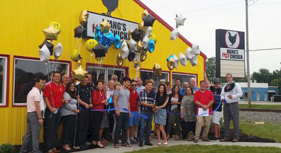 Wang's Hot Chicken ribbon cutting in Aurora, Indiana.