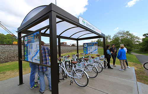River Cities Bike Share kiosk at the Dearborn Trail location near Aurora, Indiana.