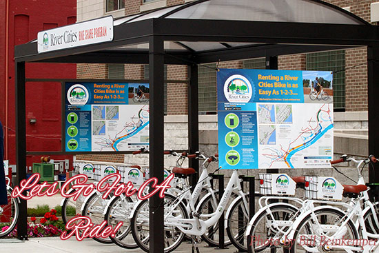 River Cities Bike Share kiosk in downtown Aurora, Indiana.