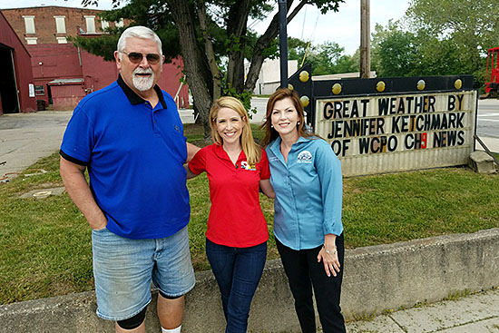 Utilities Manager, Randy Turner and City Manager Guinevere Emery posing with WCPO tv weatherman