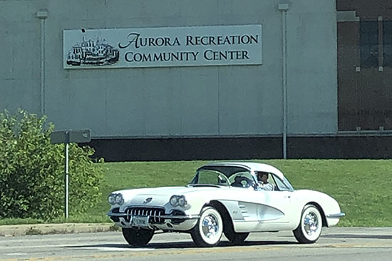 Classic car in front of ARCC during Red, White, and BOOM event, 2019.