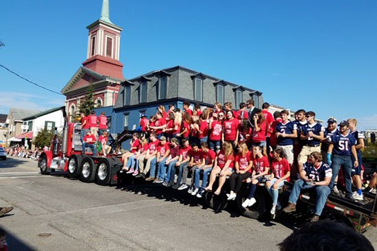 South Dearborn High School float at the Aurora