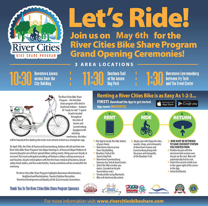 Community Bike Sharing Program banner ad for Lawrenceburg and Aurora.