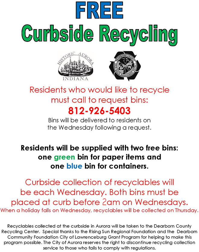 City of Aurora information on recycling service.