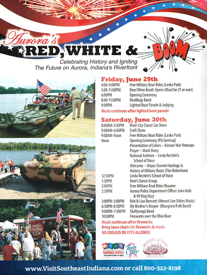 Red, White, and Boom! schedule of events.
