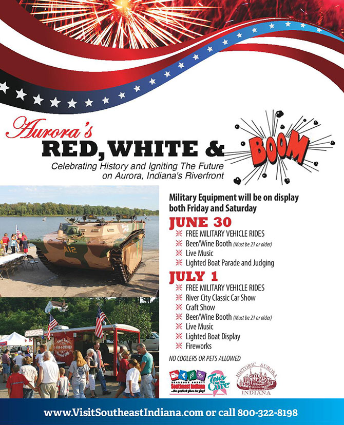Flyer for the Red, White, and BOOM! festival in Aurora, Indiana.