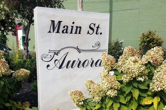 Custom sign for Aurora Main Street Association.